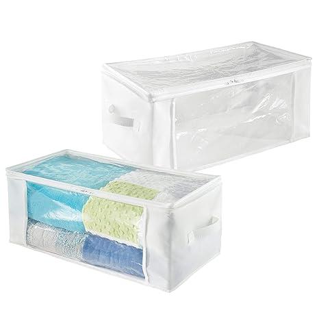 mDesign Juego de 2 bolsas para guardar ropa con cremallera – Guarda mantas alargado de polipropileno – Organizadores de armarios plegables para ...