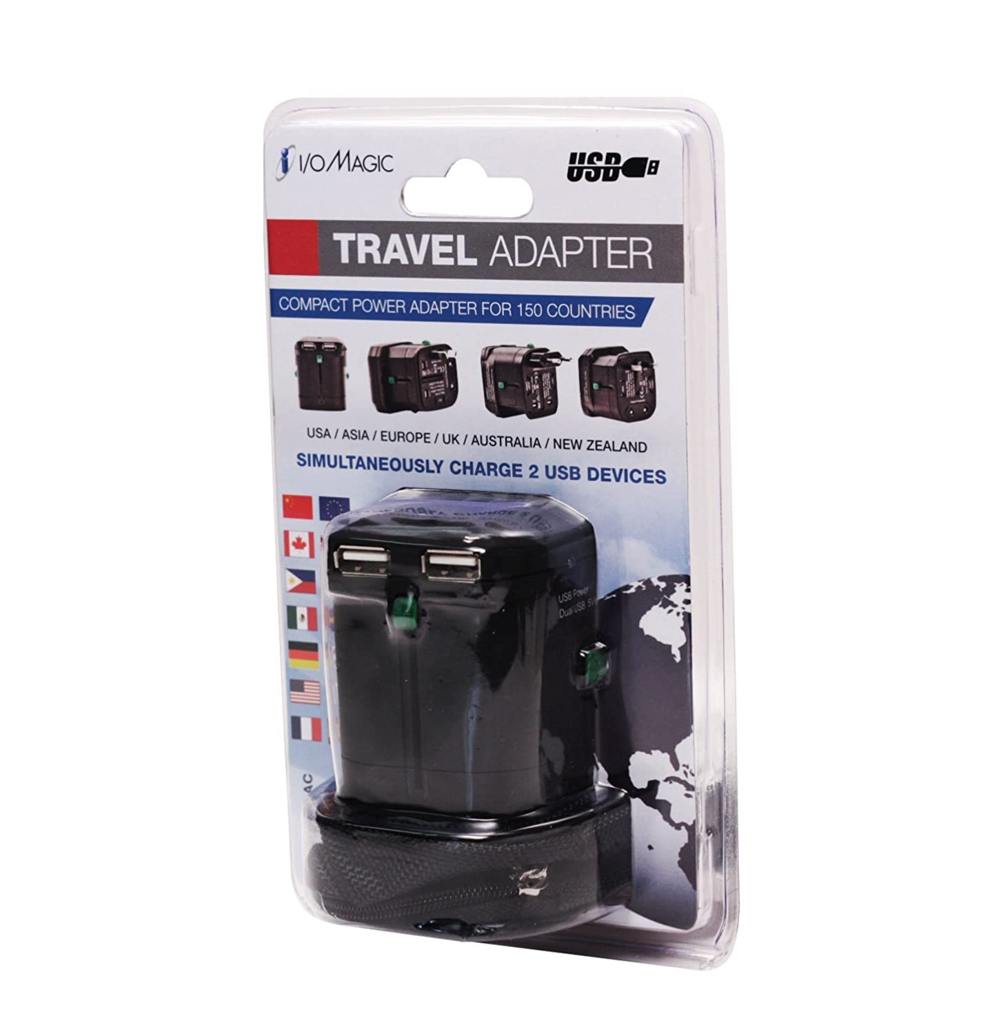 IO//Magic Corporation I//O Magic I016W01RU2B World Travel Power Adapter w// Carrying Case Black