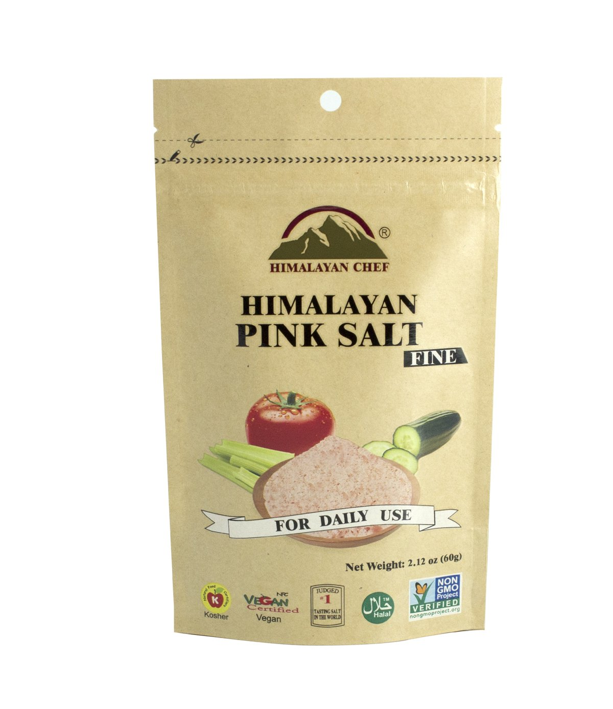 Himalayan Chef Pink Fine Salt Pouch, 2.12 Ounce, Pure and Natural with Minerals (Pack of 12)