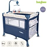 BAYBEE Zeus Baby Play Pen Portable Travel Baby Bed Cot (Blue/White)