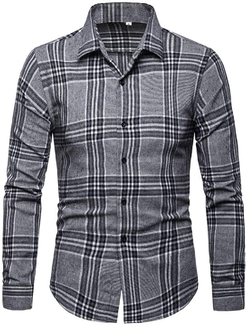 BYWX Men Wear to Work Casual Plaid Long Sleeve Button Down Shirts Tops