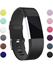 Hotodeal Band Compatible with Fitbit Charge 2 Band, Classic Soft TPU Adjustable Bands Fitness Sport Strap Rose Gold Buckle, Small Large