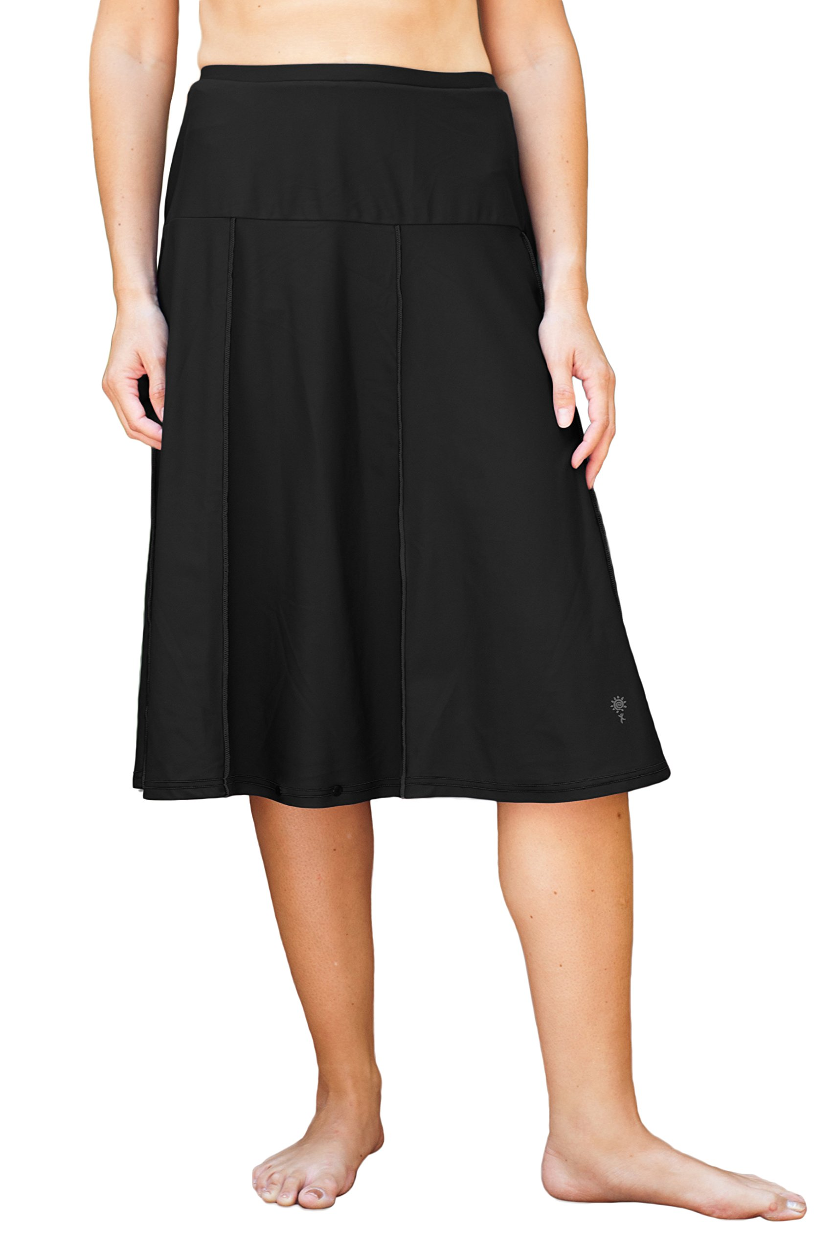 HydroChic Women's Plus Size Modest Extra Long Swim Skirt, Skirted Swimwear With Leggings (Black, 3X Plus)