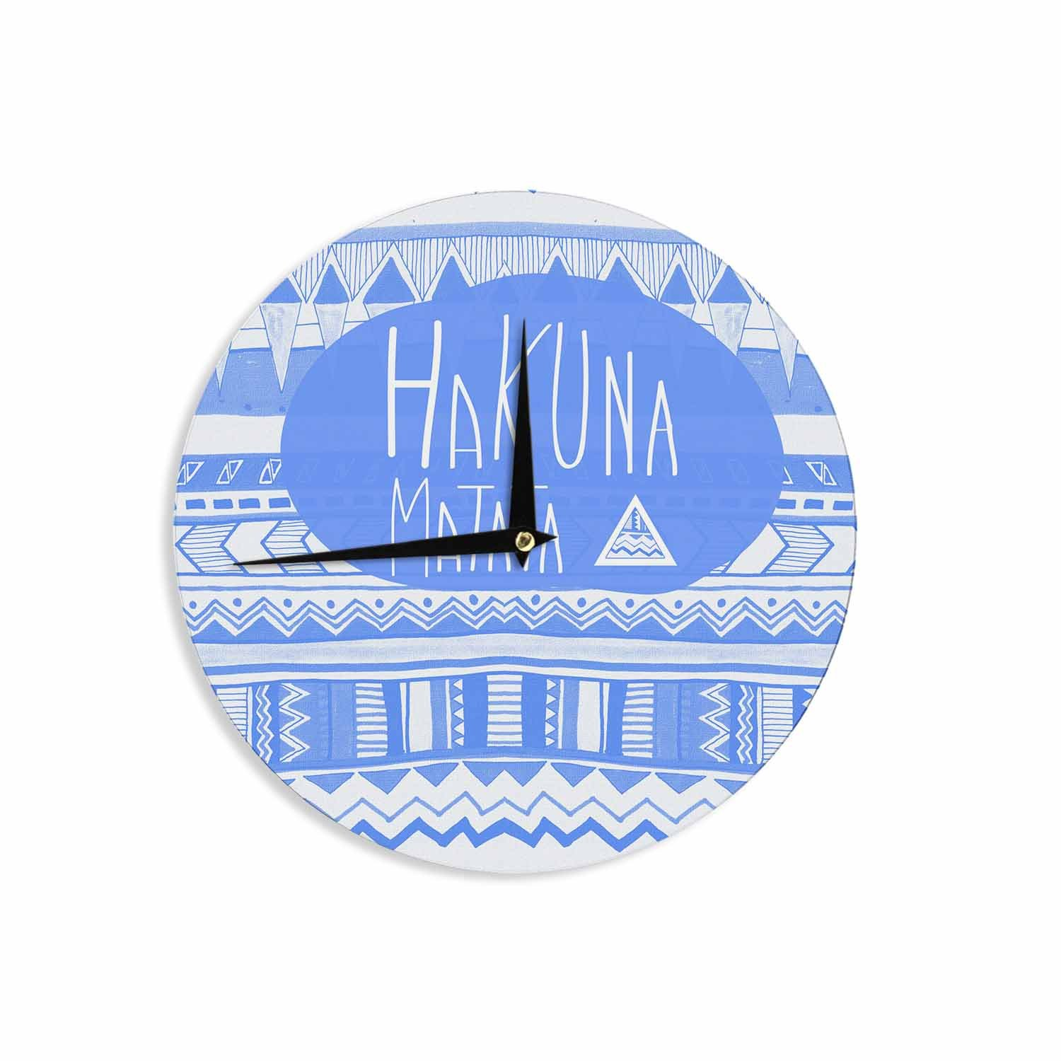 12 Wall Clock Kess InHouse Vasare NAR Hakuna Matata Azure Blue White Illustration