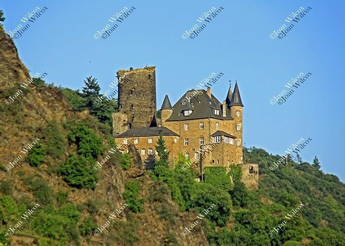 Pintoresco castillo de Burg Katz en la Fotografía de Autor río Rin ...
