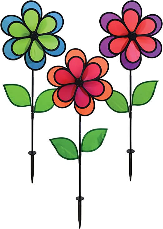 En la brisa 14 Inch Neon Color Block – doble flores Spinner – 3 Pack – colores viento Spinners para su patio y jardín: Amazon.es: Jardín
