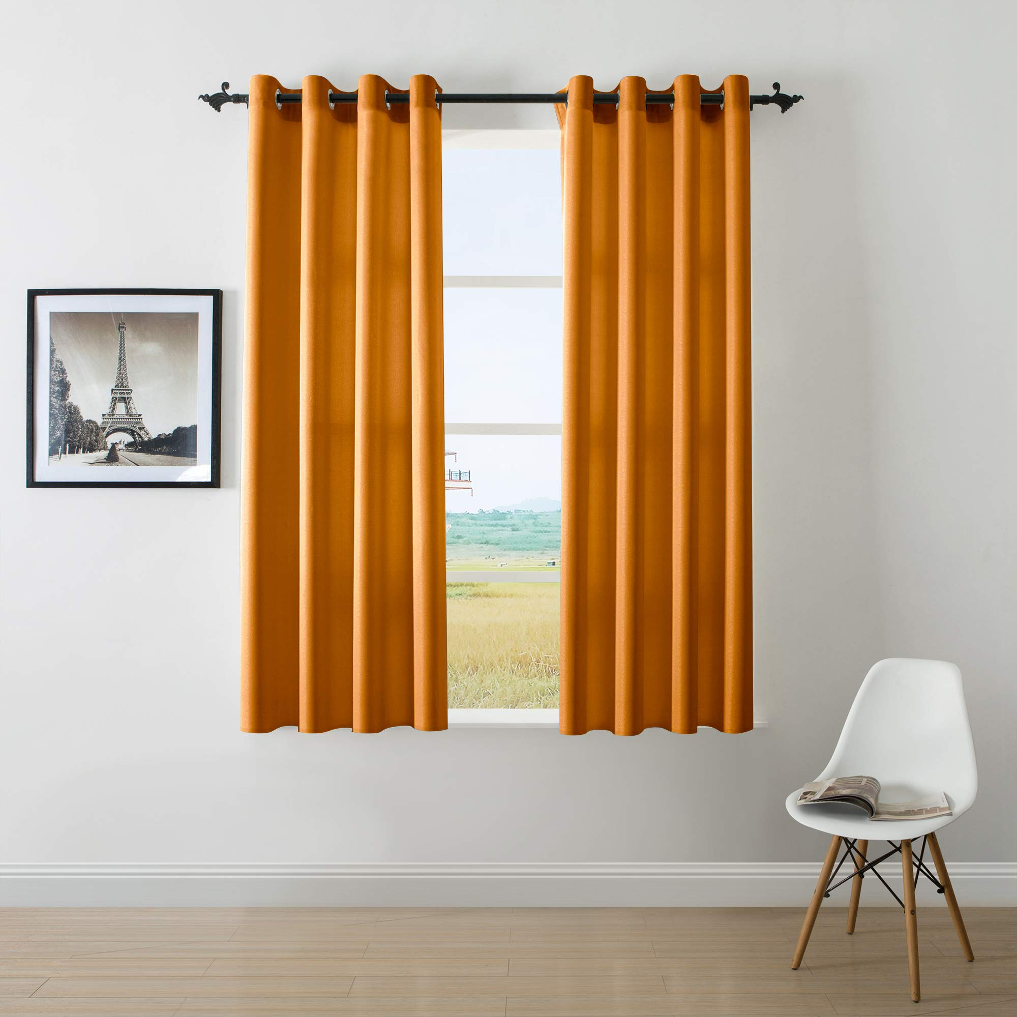 DWCN Semi Sheer Curtains Sunlight Filtering Country Modern Style Draperies 8 Grommets Window Orange Curtain 52x63 inch Long Set of 2 Faux Linen Panels for Living Room