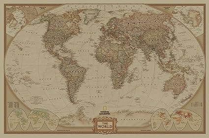 Amazon.com: SunMirror Retro World Map, Antique Vintage Old Style ...