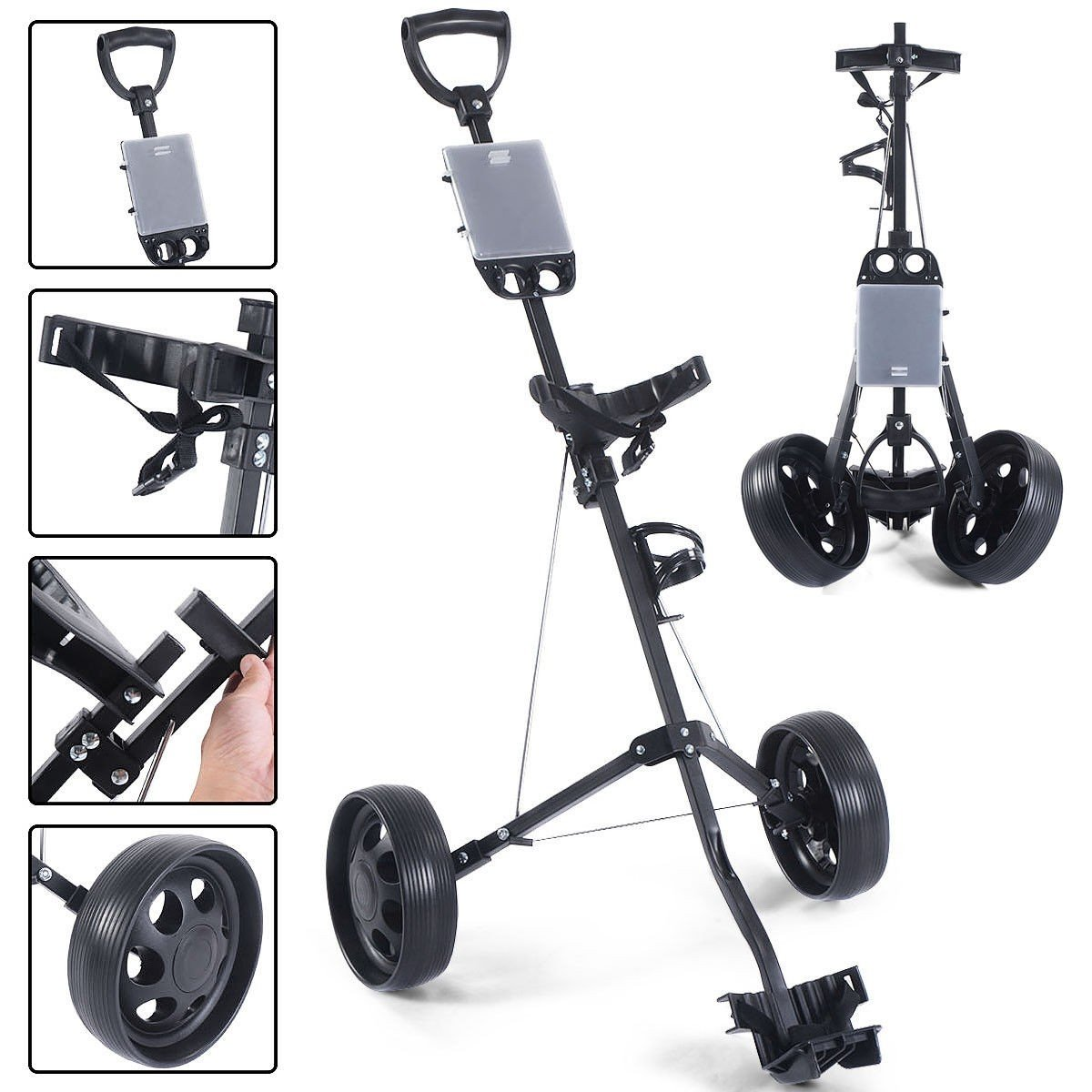 MD Group Golf Cart Holder Trolley Foldable 2 Wheels Push Pull Foldable Design Lightweight Equipment by MD Group (Image #9)