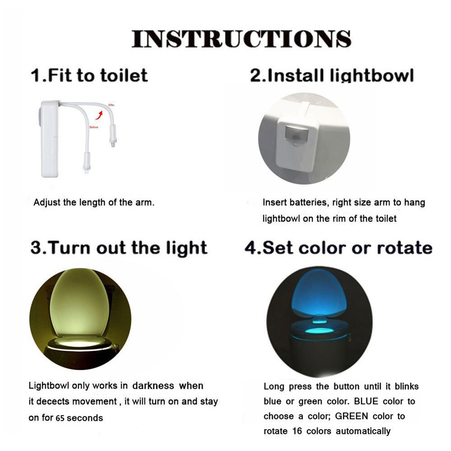 Toilet Light Bowl Led Motion Activated Dark Or Lamp Flasher Circuit Night Potty 16 Colors Changing Sensor For Train