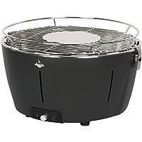 Tischgrill El Fuego Tulsa Edelstahl Stahl Kunststoff schwarz klein Camping Balkon Picknick ✔ rund ✔ tragbar rauchfrei ✔ Grillen mit Holzkohle ✔ für den Tisch
