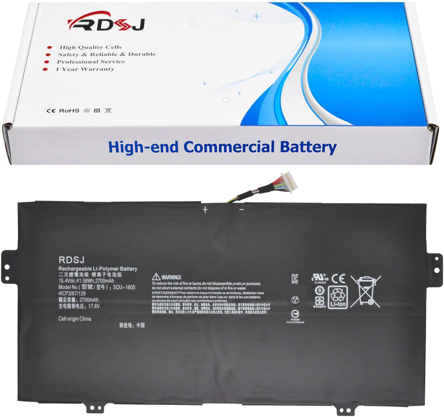 SQU-1605 Laptop Battery for Acer Spin 7 SP714-51 SF713-51 Swift 7 S7-371 SF713 SF713-51 SF713-51-M90J Series 4ICP3/67/129 KT0040B001 15.4V 41.58Wh