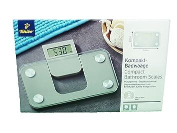 TCM Tchibo Badwaage Kompakt Personenwaage Badezimmer Mini Waage Grau