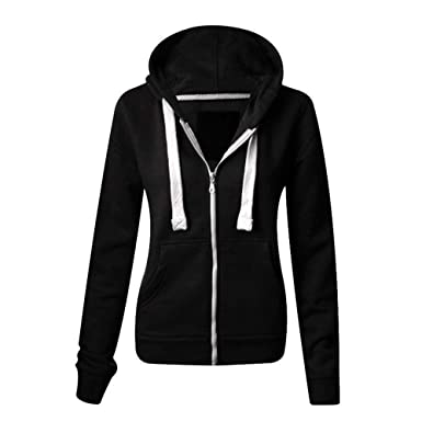 Made By Malaika® Ladies Womens Plain Colour Pockets Hoodie Zip Up ...
