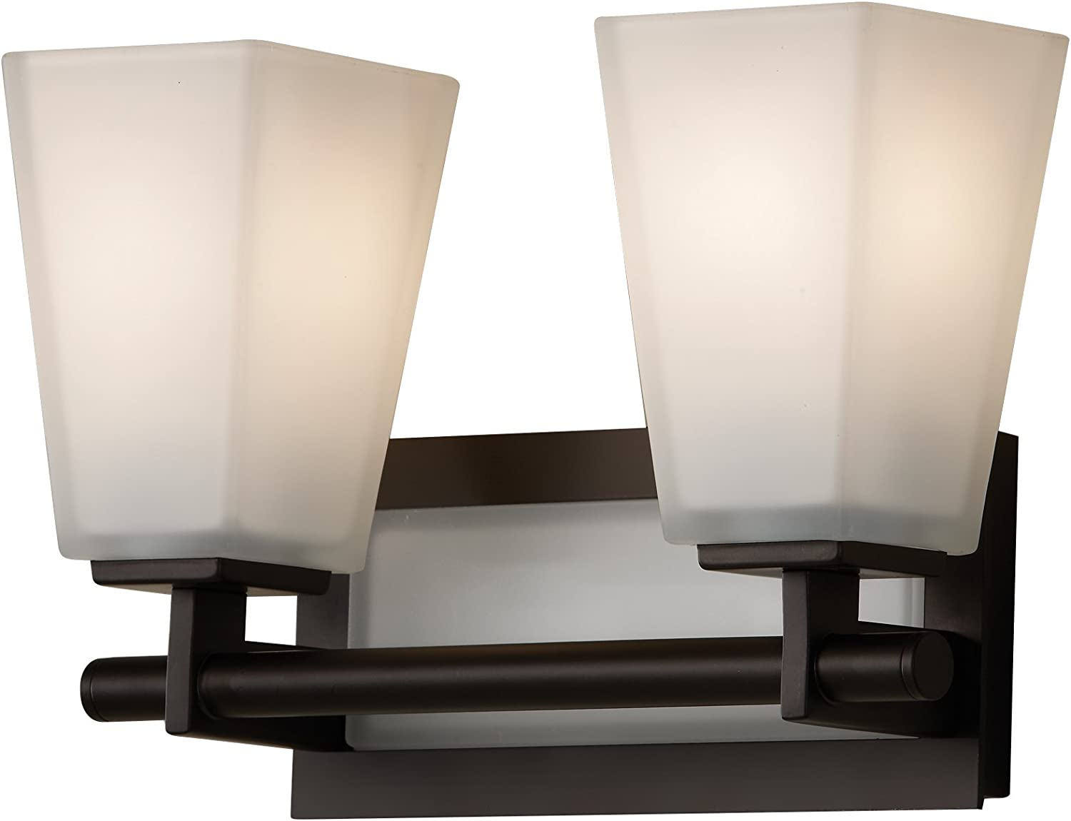 Feiss VS16602-ORB Clayton Glass Wall Vanity Bath Lighting, Bronze, 2-Light 13 W x 9 H 200watts