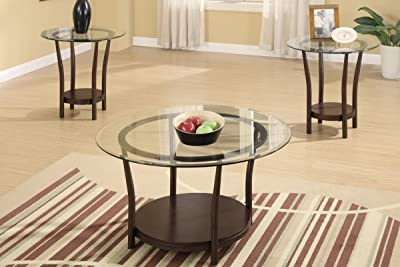 3-Pcs Table Set w/ Glass Table Top and Wood Base by Poundex