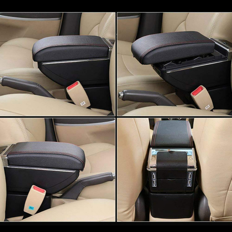 F/ür V olkswagen Polo 9N 2002-2009 High-end Auto Armlehne Mittelarmlehne mittelkonsole Zubeh/ör Ladefunktion Mit 7 USB-Ports Eingebaute LED-Licht Grau