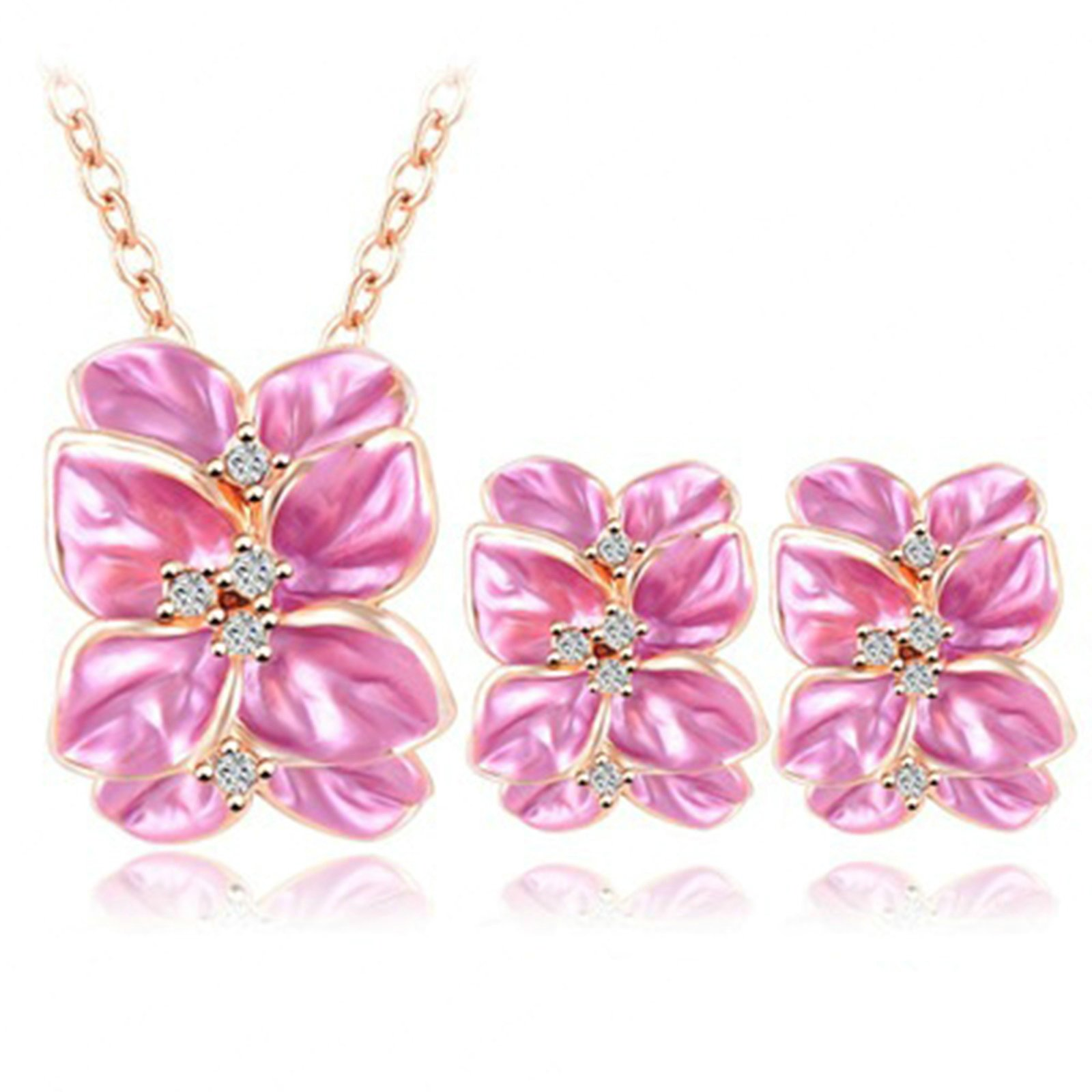 Daesar Silver Plated Necklace Earrings Jewelry Set for Women Elegant Flowers Cubic Zirconia Pink