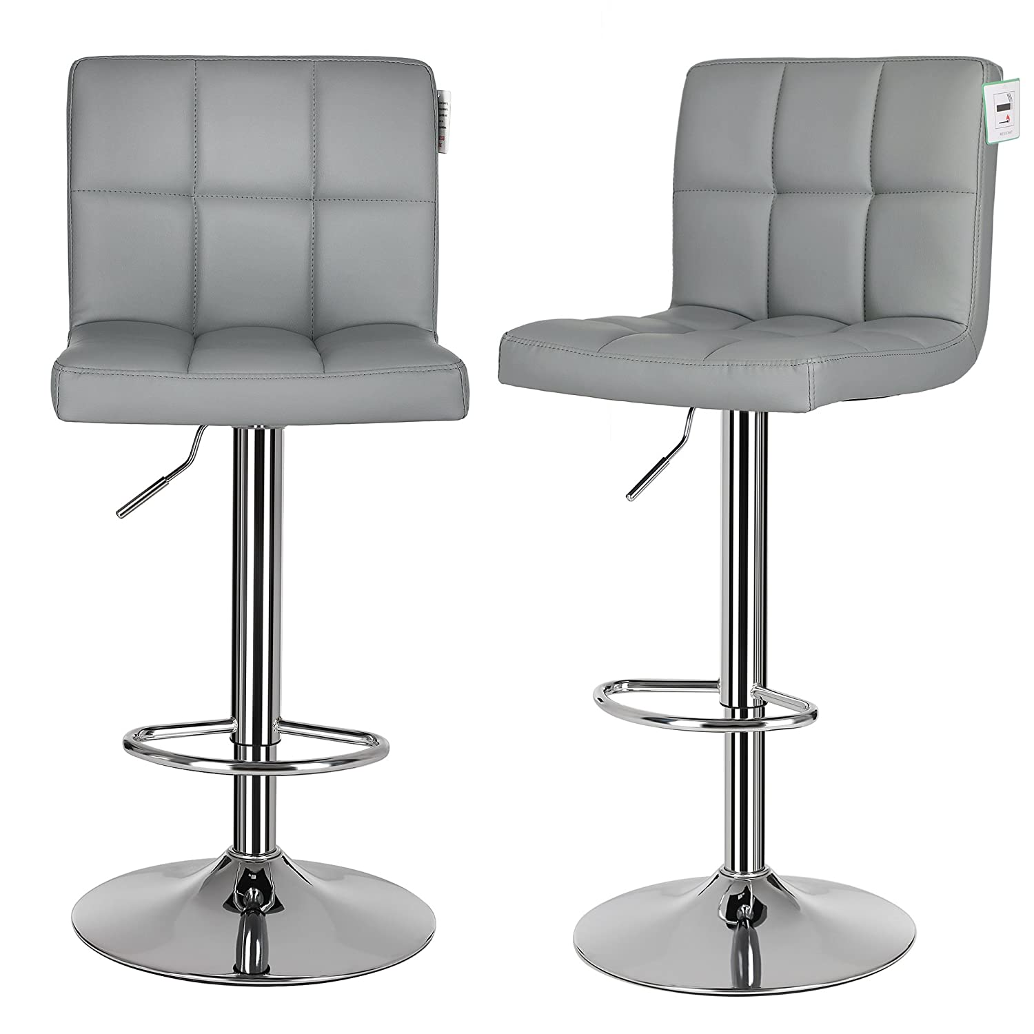SONGMICS 2 x Bar Stools, Bar Chairs Set with Backrest, Large Seats