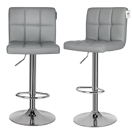 SONGMICS 2 X Bar Stools Chairs With Large Seats Breakfast Stools For  Kitchen Island Grey LJB64GUK