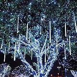 STONG 50CM 8 tubi Bercy doccia pioggia luci 240 LED stringa esterna impermeabile per Natale matrimonio partito albero decorativo (bianco, 50CM)