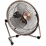 Dreamiracle Mini USB Desk Fan, 6 Inch Small Quiet Metal Desktop Table Personal Fan with 3.9 Feet USB Cable, Great for Office Room (Copper)