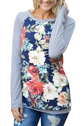 La Mujer Plain Floral Print Top Camiseta Blusa Manga Larga Patchwork
