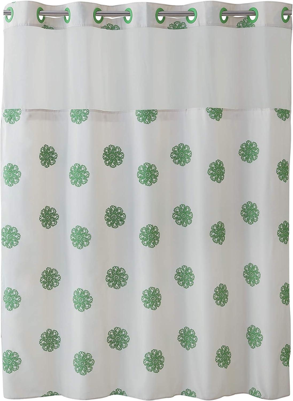 SureFit Home Décor Hookless Sunburst Floral Shower Curtain with Peva Snap In Liner Easy Install, Flex On Rings, Split Grommet, Machine Washable, Cream Green Color