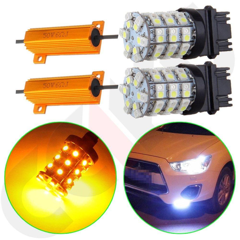 4x 3157 Type 2 Switchback White Amber 60 SMD LED Turn Signal Light Bulb+Resistor