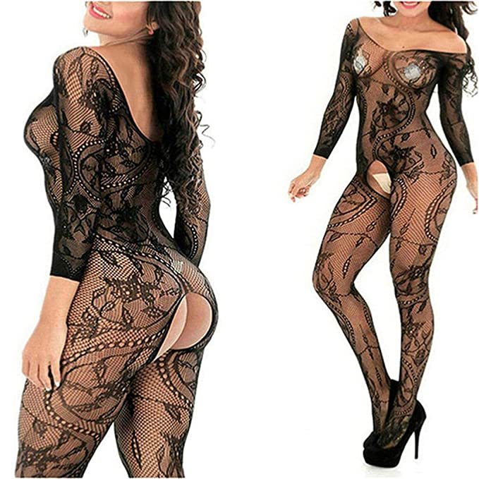 aa2738246c0 MyKiss Sexy Lingerie Women Fishnet Sheer Open Crotch Body Stocking Bodysuit  Lingerie  Amazon.ca  Clothing   Accessories