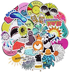 Stickers for Water Bottles, Waterproof Vinyl Laptop Vsco Stickers for Kids Hydro Flask Cars Laptops Skateboard Bumper Computer Phone Case (50 Pcs Cute Style Stickers)
