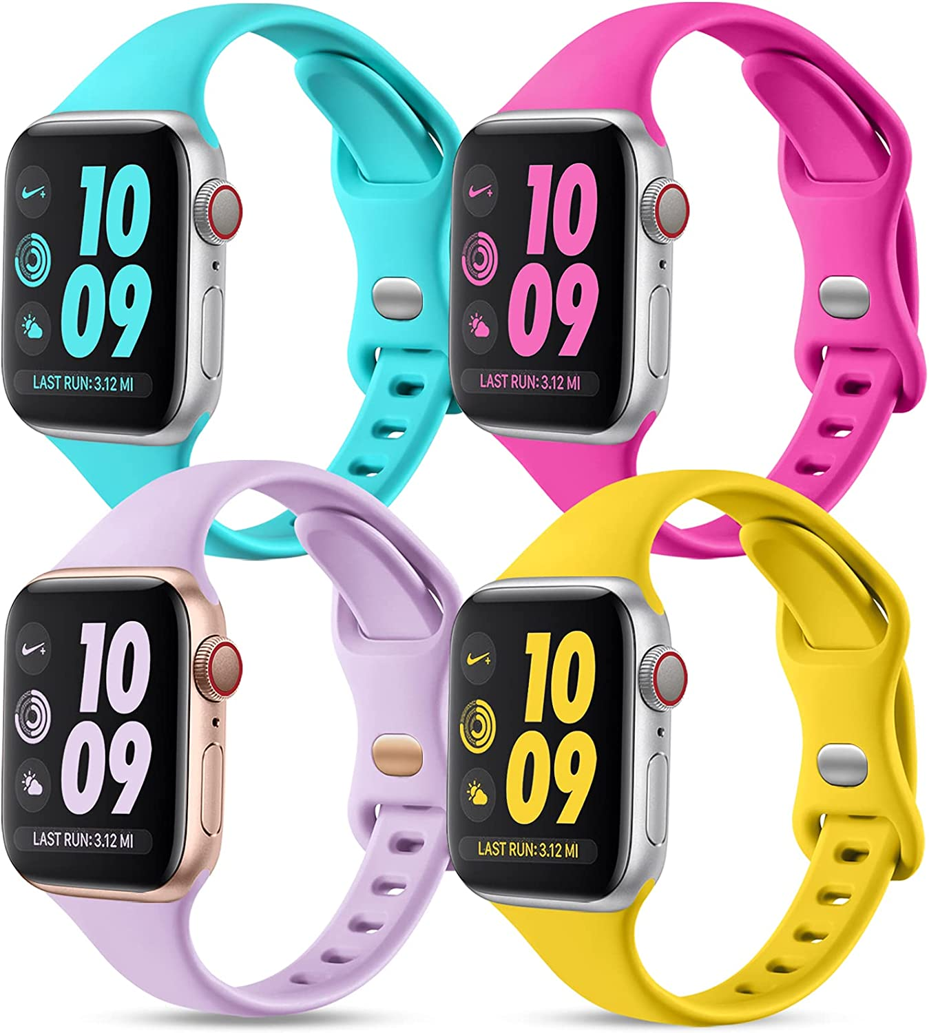 GEAK Compatible with Apple Watch Bands Series 6 38mm 40mm for Women, Slim Silicone Sport Wristband for iWatch SE 38mm Bands Series 1 2 3 4 5 6, 4Pack Lavender/Rose/Teal/Mango Yellow