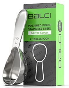 BALCI- Stainless Steel Coffee Scoop (2 Tablespoon Scoop) EXACT Measuring Spoon for Coffee, Tea, Sugar, Flour and More!
