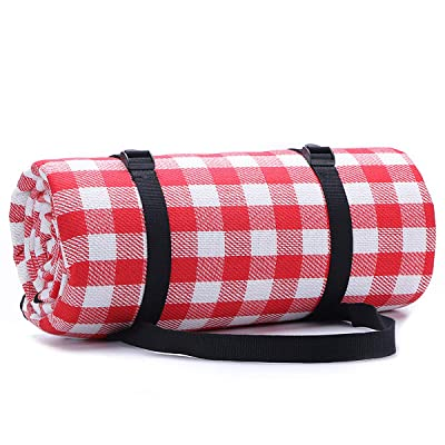 1Pcs 79 '' 59 '' Portable Picnic Mat, 3 Layers of Waterproof and Sand-Proof Picnic Beach Mat for All Seasons, Great Choice for Camping, Beach, Home Non-Slip. Red and White Plaid. : Garden & Outdoor