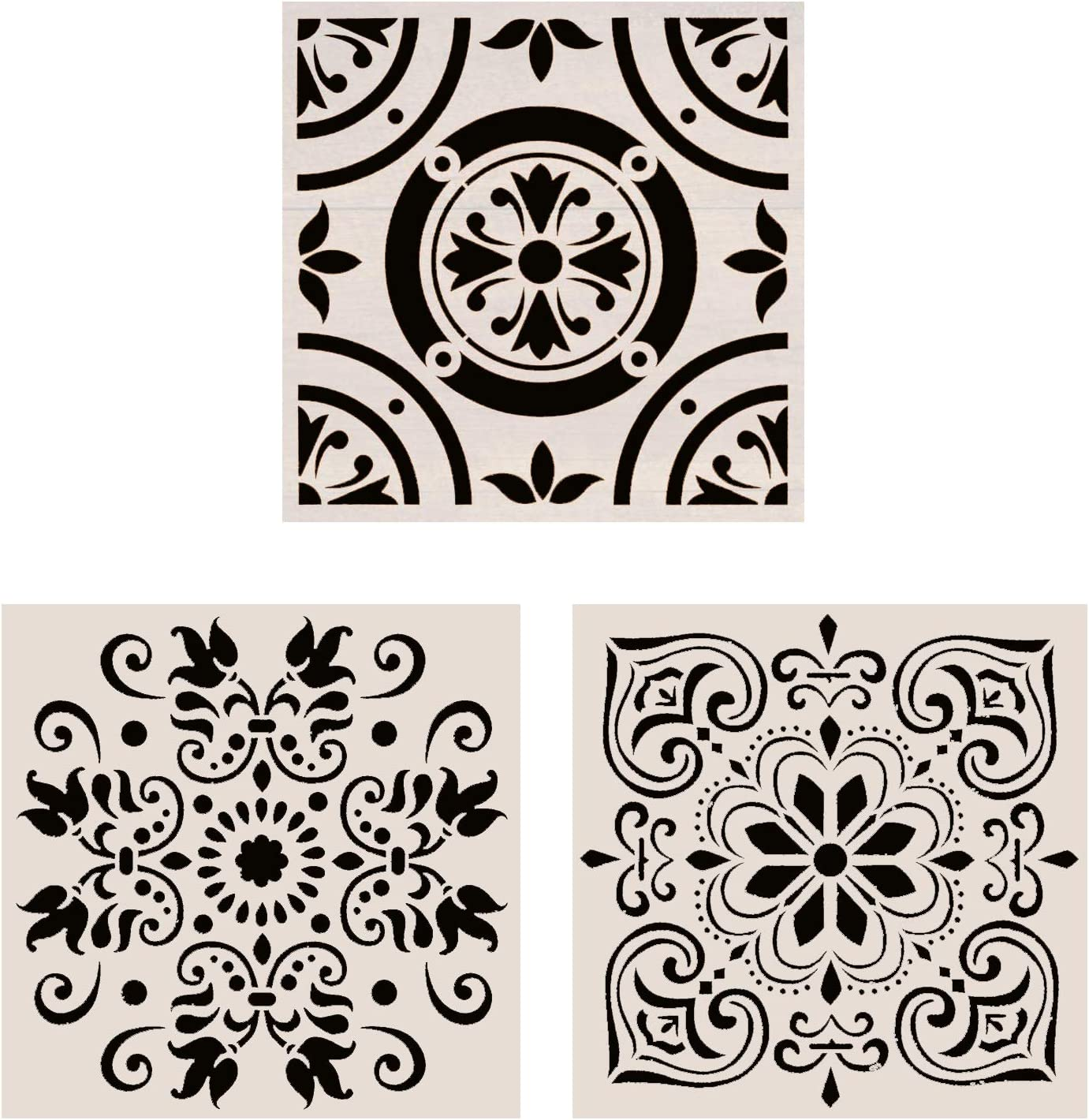 Lindin Pack of 3 Tile Stencil 12x12 Inch - Large Stencils Painting for Floor Wall Furniture Fabric Wood - Reusable Art Mandala Stencils Painting (Style 1)