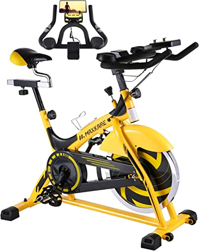 MaxKare Stationary Bike Belt Drive Indoor Cycling Bike 44lbs Flywheel Pulse Sensor LCD Monitor Ipad Mount Exercise Bike w Adjustable Handlebar for Home Cardio Workout