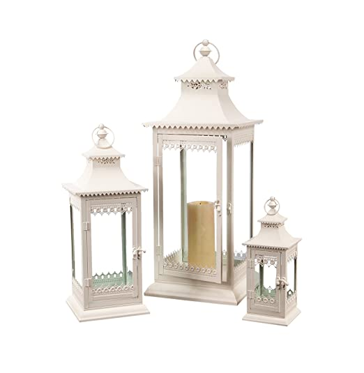 Coastal Christmas Tablescape Décor - Creamy white metal and glass lanterns - Set of 3 by Melrose International