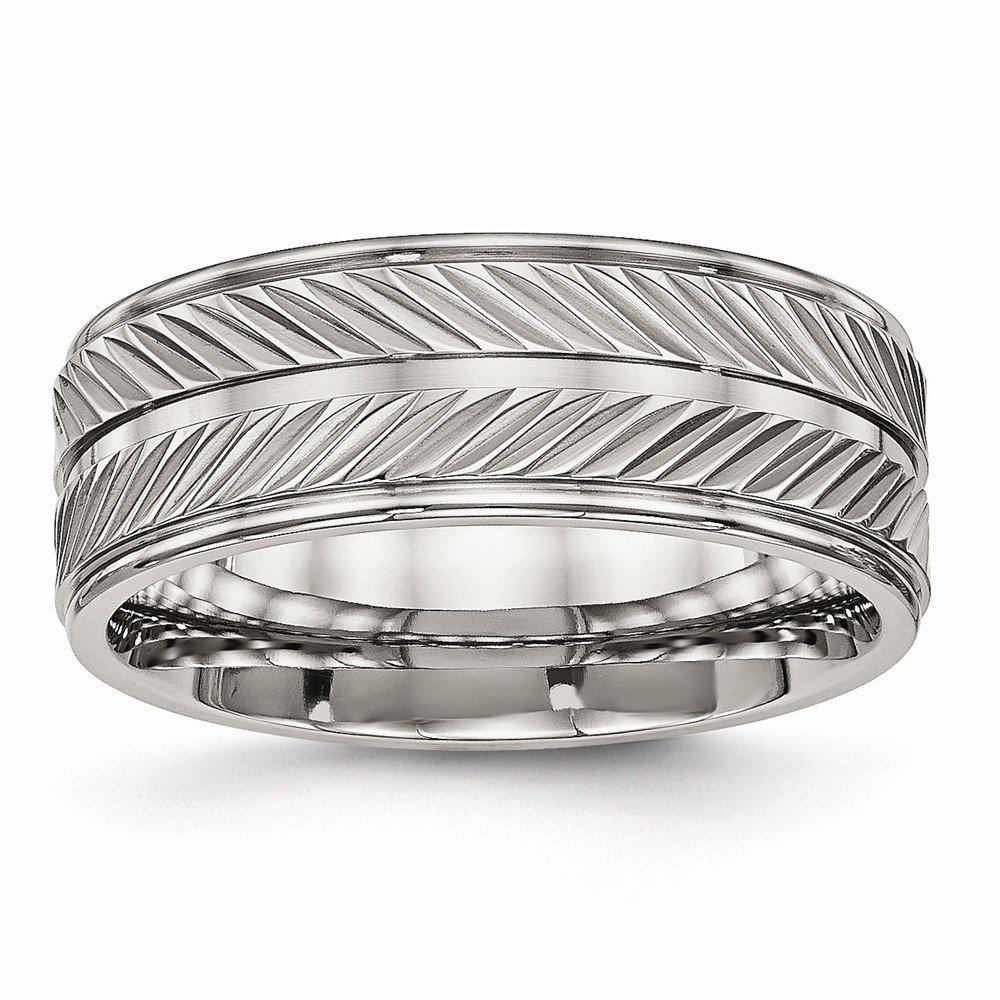 Bridal Wedding Bands Decorative Bands Titanium Polished Grooved Ring Size 7.5