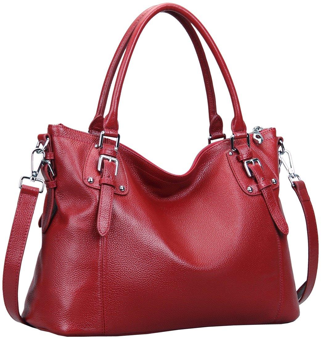 2ae59047a059 Galleon - Heshe Womens Genuinne Leather Handbags Tote Top Handle Bag  Shoulder Bag For Women Crossbody Bags Ladies Designer Purse (LWine)