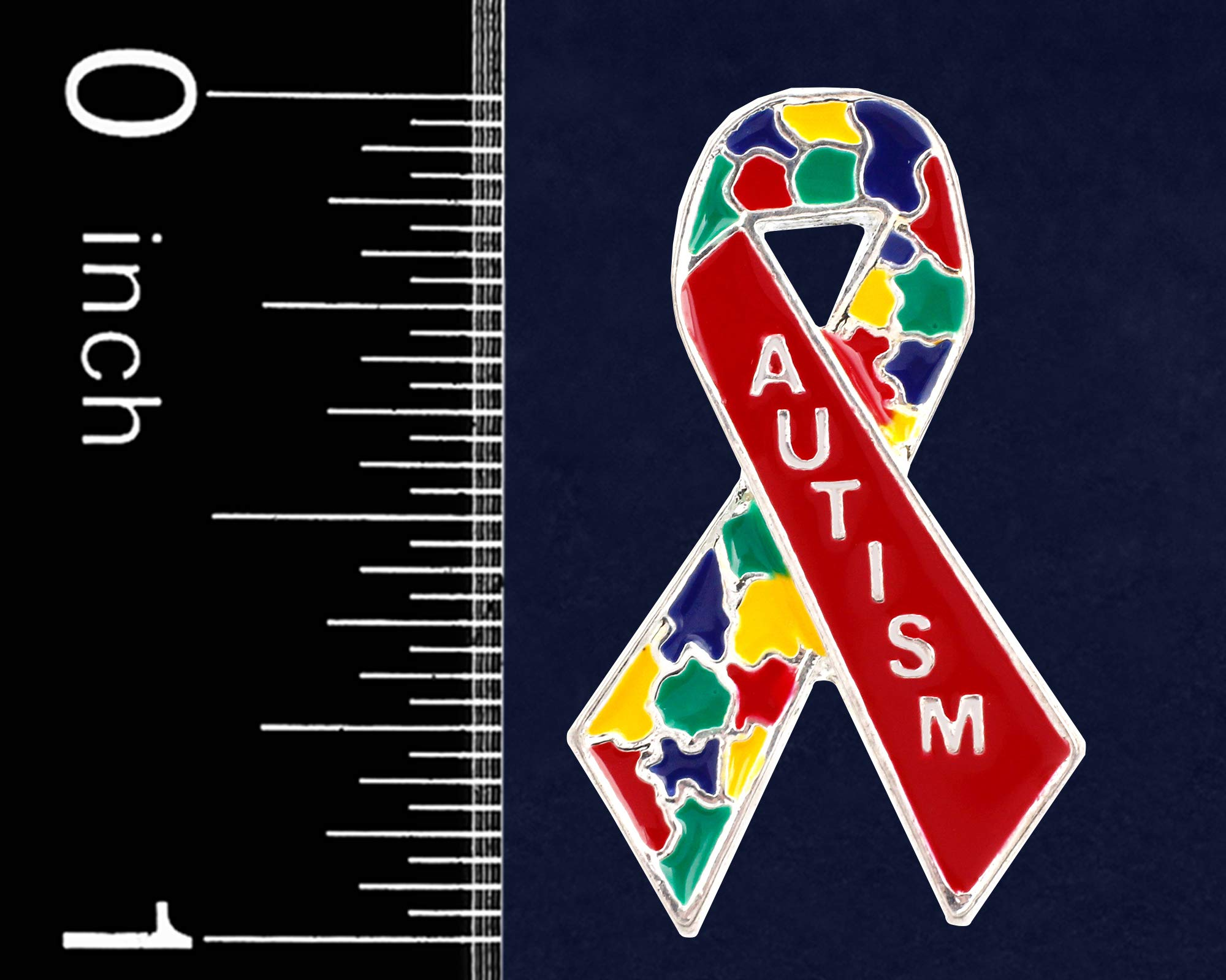 25 Pack Autism Awareness Multicolored Puzzle Piece Pins (25 Pins, Autism Awareness Ribbon Pin)