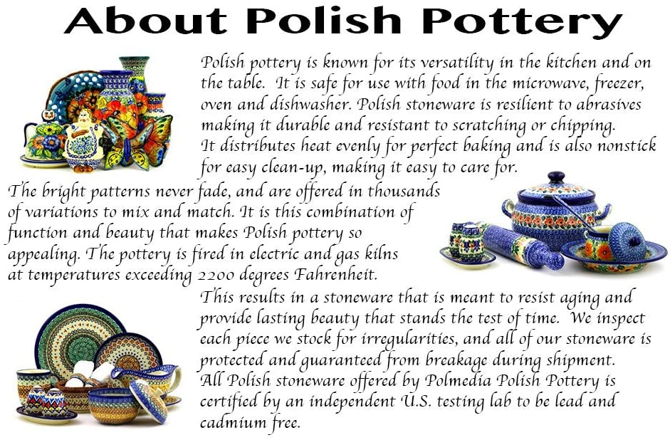 Country Meadow Theme Polish Pottery 7 oz Creamer Certificate of Authenticity