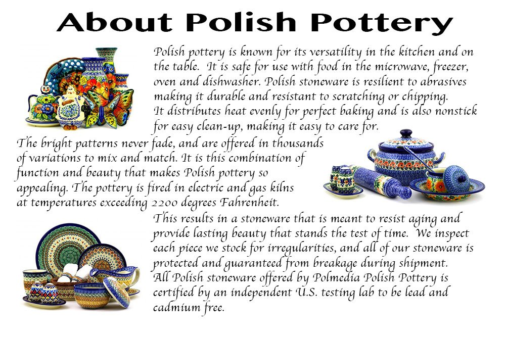 Polish Pottery 7/¾-inch Cheese Lady Daisy Dreams Theme Certificate of Authenticity Boleslawiec