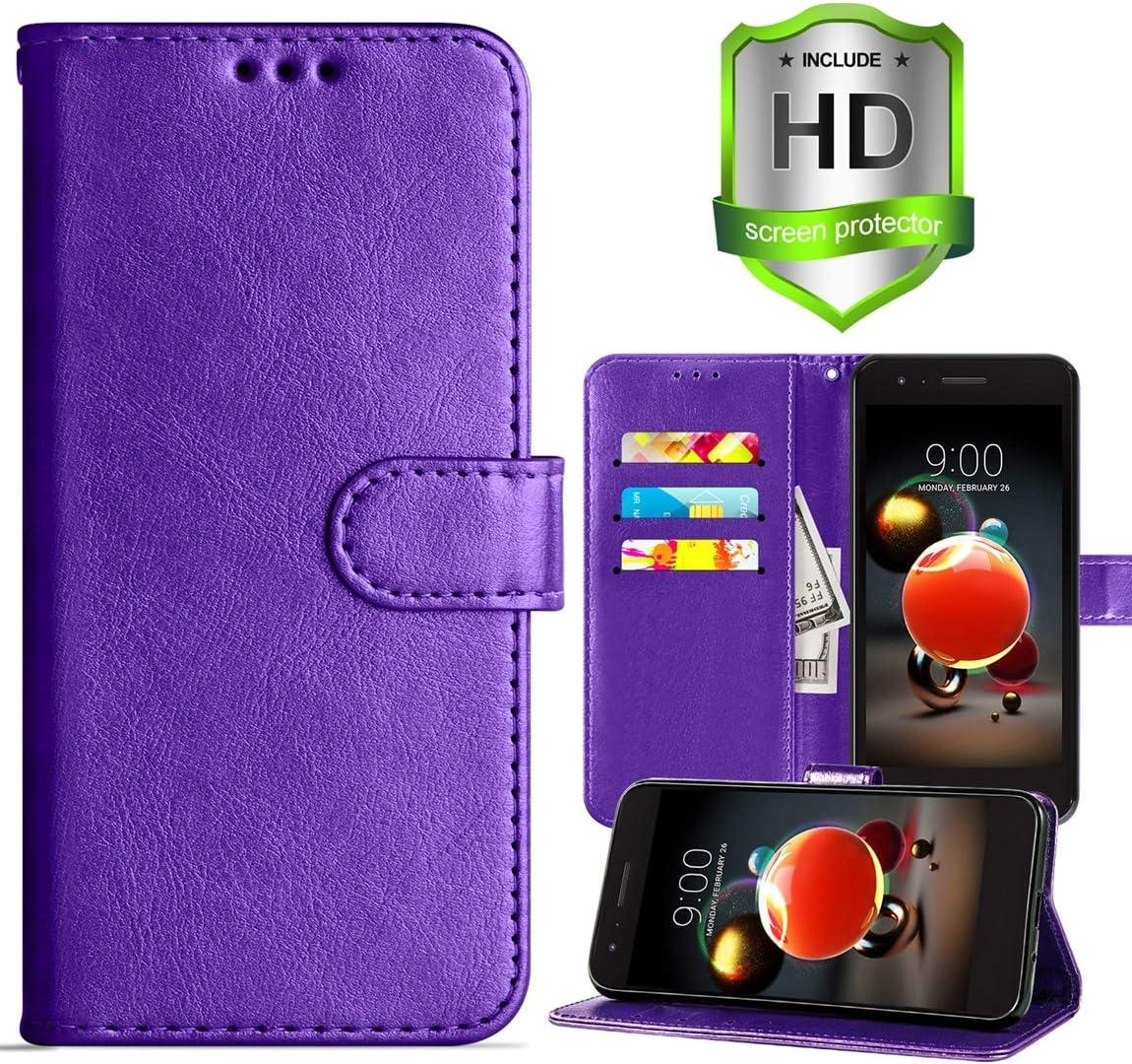 LG Aristo 3/LG Aristo 2/Aristo 2 Plus Wallet Case,Rebel 4 LTE/Tribute Empire/Dynasty/Zone 4/Phoenix 4/Risio 3/K8 2018/ K8 Plus/Fortune 2 Case,PU Leather Cover w Card Slots/Screen Protector,Purple