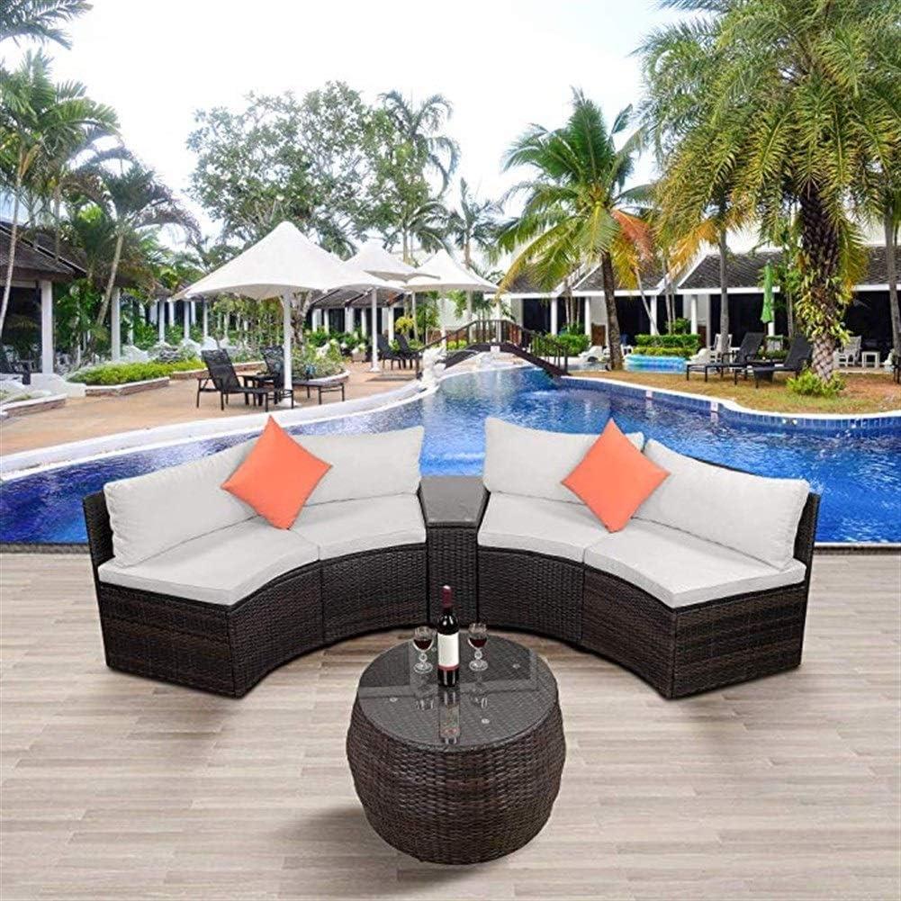ALI VIRGO Sofa Patio Sets, Outdoor Half-Moon Sectional Furniture Wicker Sof, Black