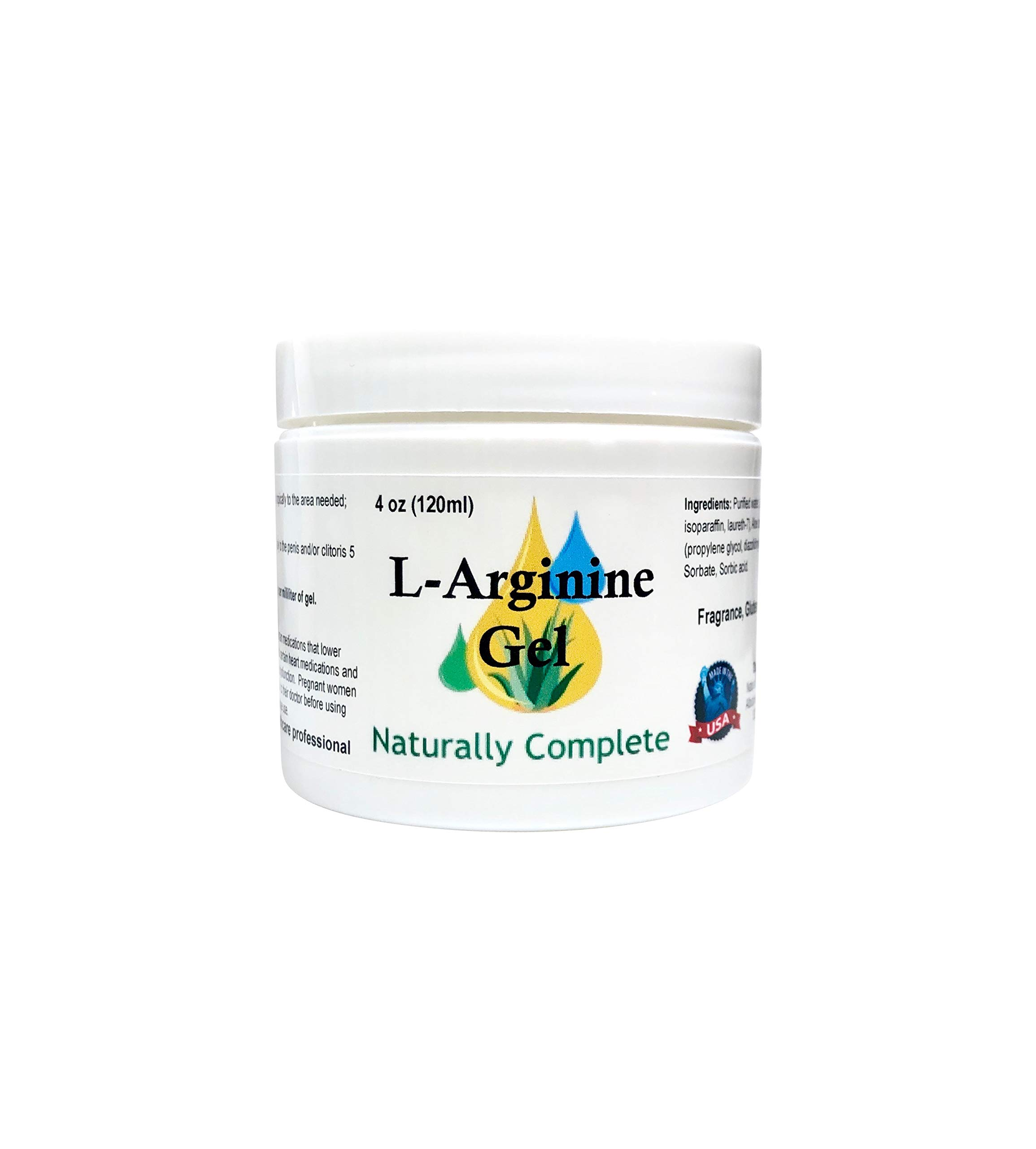 Naturally Complete L-Arginine 4 oz Jar | Also in 2 oz Jar | Non-GMO | Unscented | for Men and Women | Made in USA