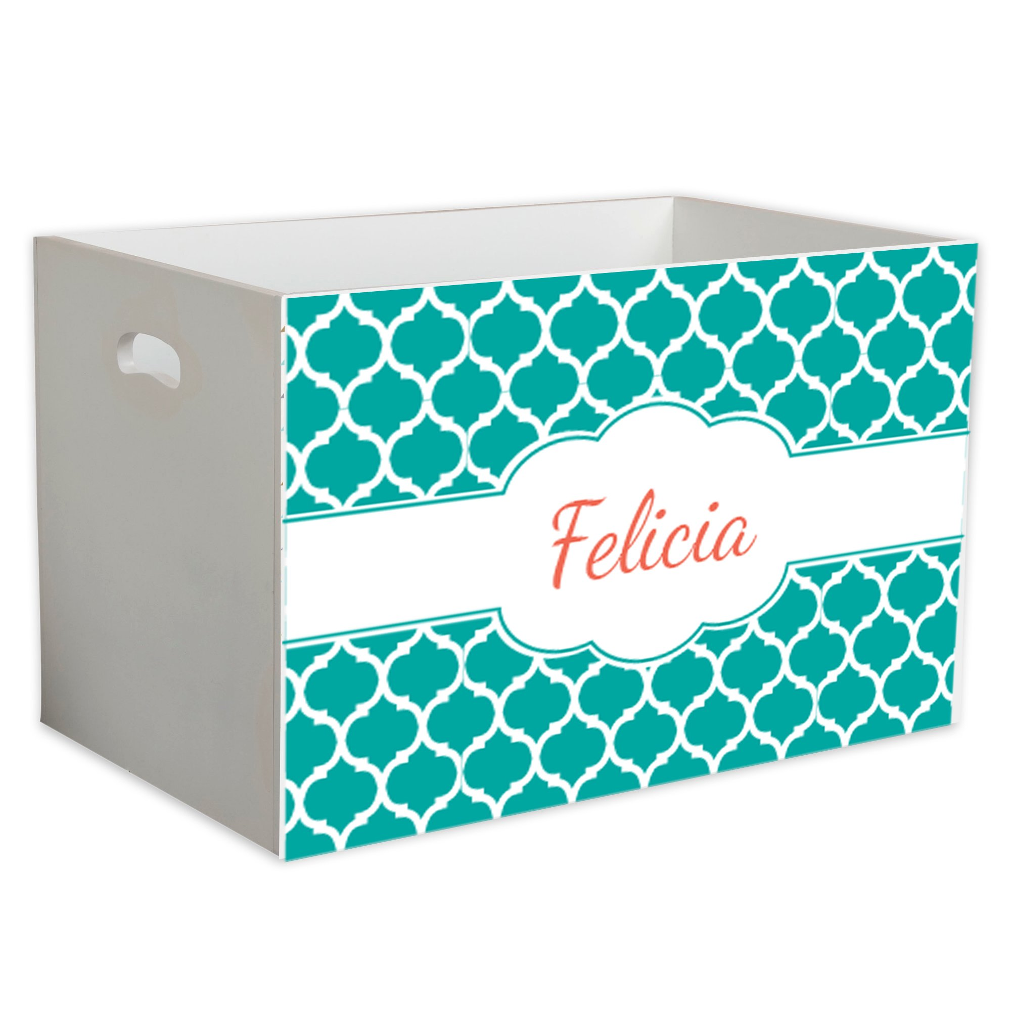 Personalized Moroccan Teal Childrens Nursery White Open Toy Box