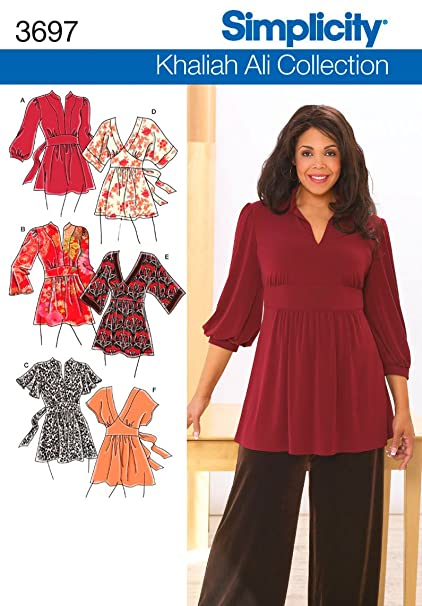 Amazon Simplicity Sewing Pattern 3697 Plus Size Tops Ff 18w