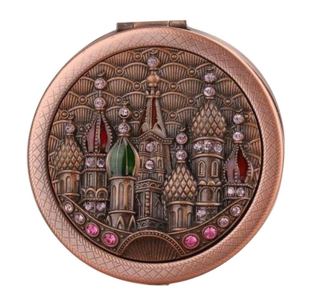 Vintage Round Compact Mirror Travel Makeup Mirror Handbag Mirror, Castle Red Black Temptation