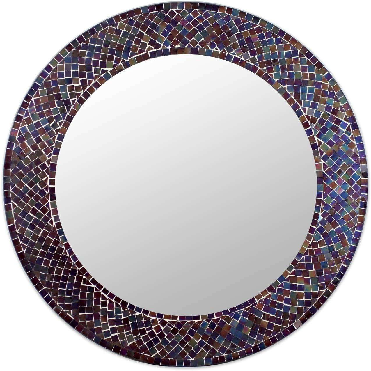 NOVICA Amethyst Halo Glass Mosaic Wall Mirror