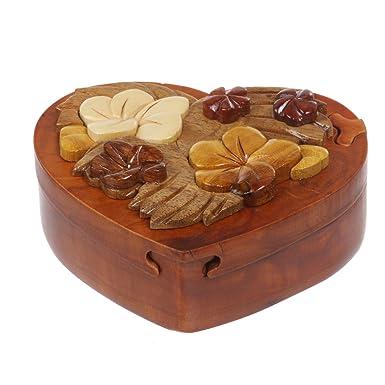 Amazoncom Handcrafted Wooden Heart Shape Secret Jewelry Puzzle Box